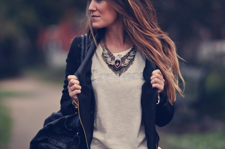 leather jacket, t-shirt and necklace