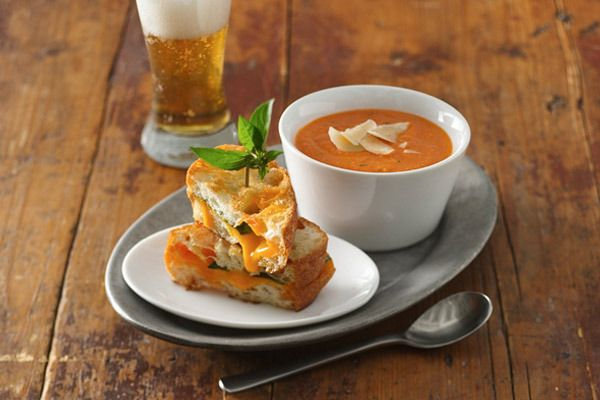... Tomatoes | Recipes | Creamy Tomato Soup with Grilled Cheddar-Basil