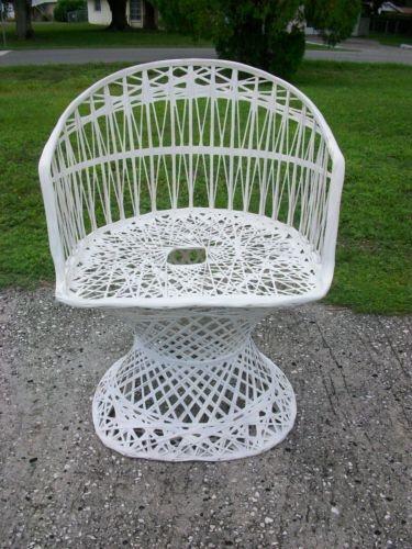 Cool fiberglass wicker patio chair mid century hollywood regency mush