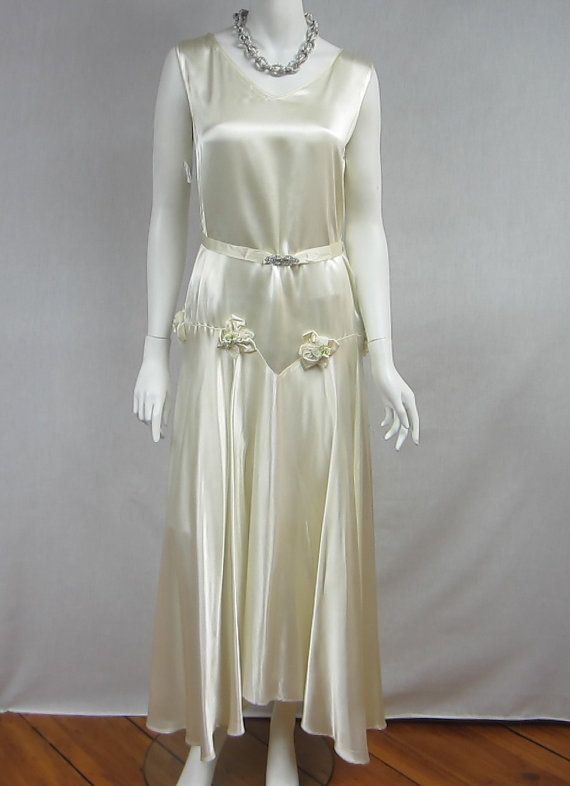 Vintage Wedding Dresses Art Deco : S art deco white flapper wedding dress bridal rhinestone