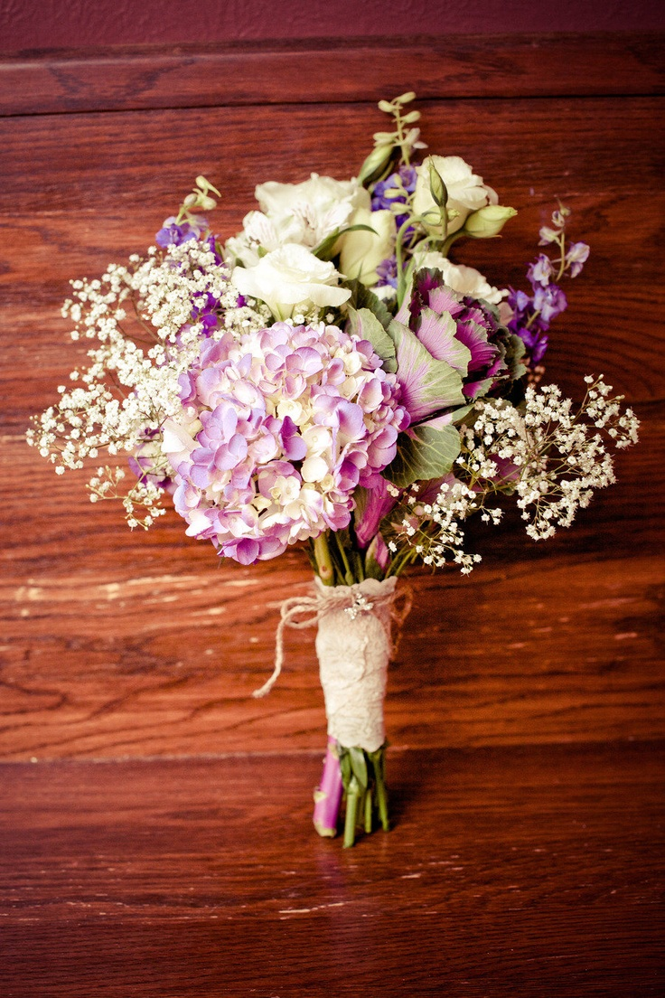 Rustic bouquet of hydrangea, kale, Lisianthus, delphinium and baby's breath.   Photography By / http://tuckerimages.com *With Red instead of purple - for maid of honor