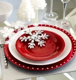 Christmas Place Setting In Red White Christmas Pinterest