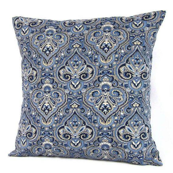 Indigo Blue Throw Pillow : 16x16 Throw Pillow Cover Navy Indigo Blue Natural Paisley Home Decor