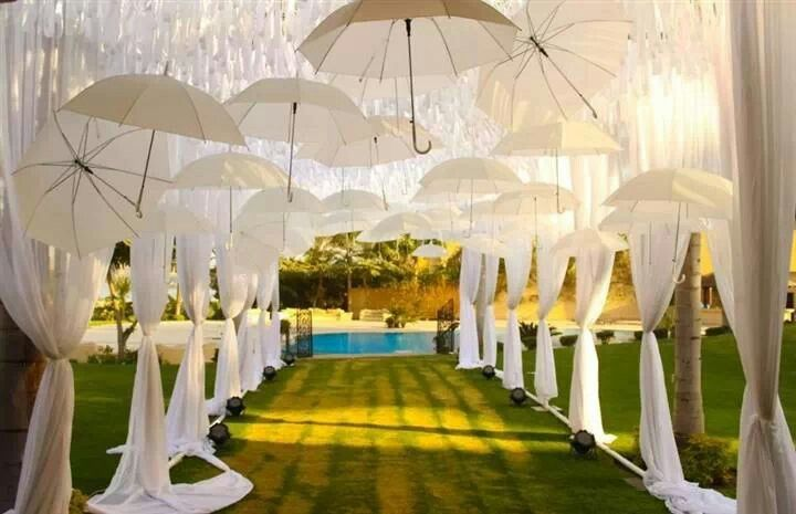 Wedding white umbrella decor wdgs pinterest for Umbrella wedding photos