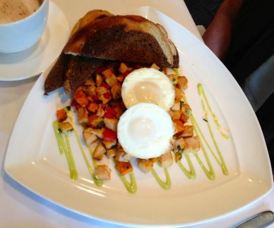 smoked turkey amp sweet potato hash w poached eggs amp poblano aioli ...