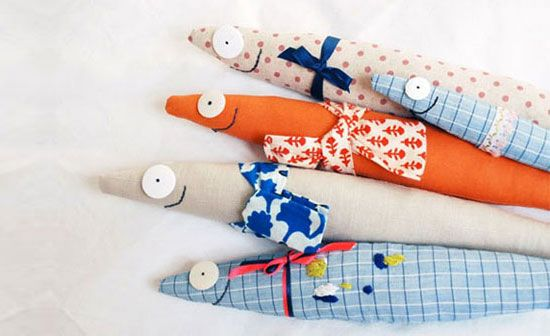 Happy Fish By Floral Douville, lushly.com: Made in France of reclaimed and vintage fabric, each unique. #Fish #Plushie #Floral_Douville #lushlee
