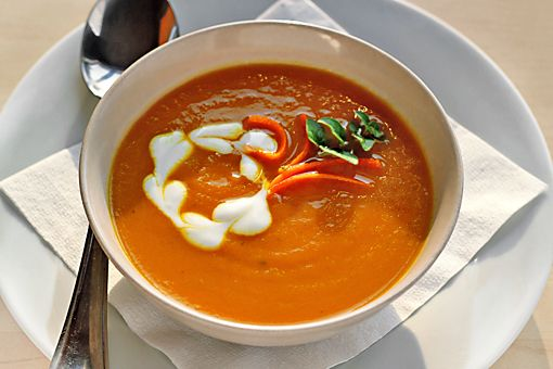 Puree of carrot soup with ginger and curry. SO good. Try it even if ...