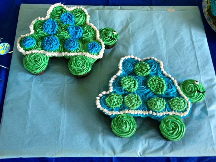 Turtle cake Turtle cupcake pull apart cake. I made this for my nephews ...