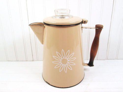 Vintage coffee pot camper aluminum percolator small serving