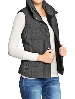 Women's Quilted Tweed Puffa Vests | Old Navy