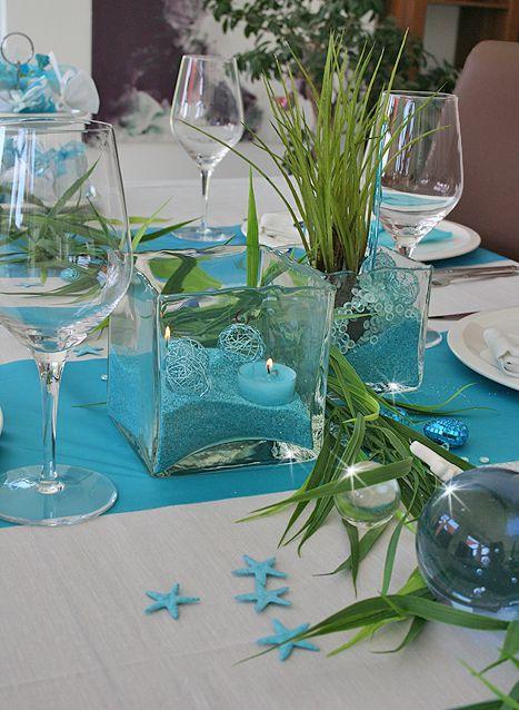 Tischdeko türkis/weiß  Hochzeitsideen  Pinterest