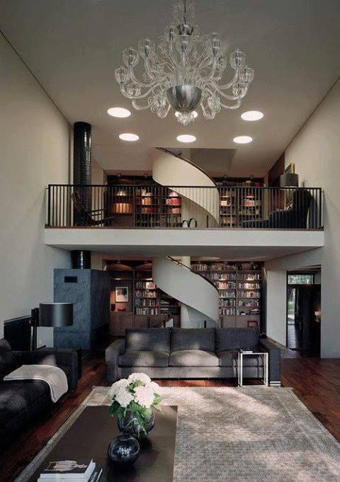 Living room with spiral staircase for my house tho for Living room designs with staircase