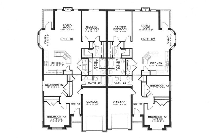 Single story duplex floor plans duplex ideas pinterest One story duplex house plans