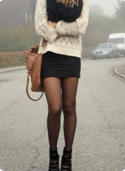 White sweater paired with a black skirt, black circle scarf and black tights! Perfect fall outfit.