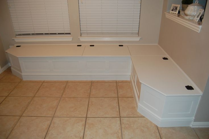 Diy banquette with piano hinge for the home pinterest - Diy kitchen banquette ...
