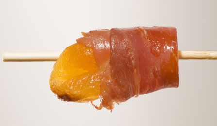 Spanish Recipes. Skewers of dried apricots and Serrano ham. Pinchitos ...
