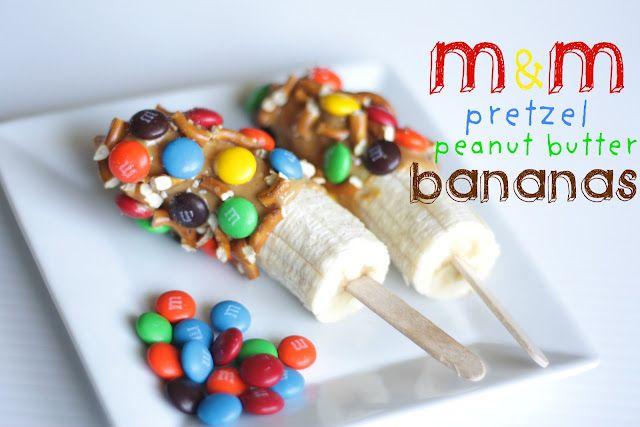 M&M Pretzel Peanut Butter Bananas