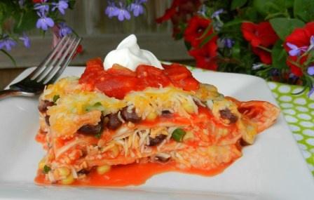 Tex-Mex lasagna-corn tortillas instead of noodles