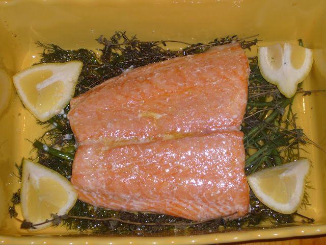 Kitchen Sink Diaries: Slow Roasted Salmon with Herb Yogurt Sauce