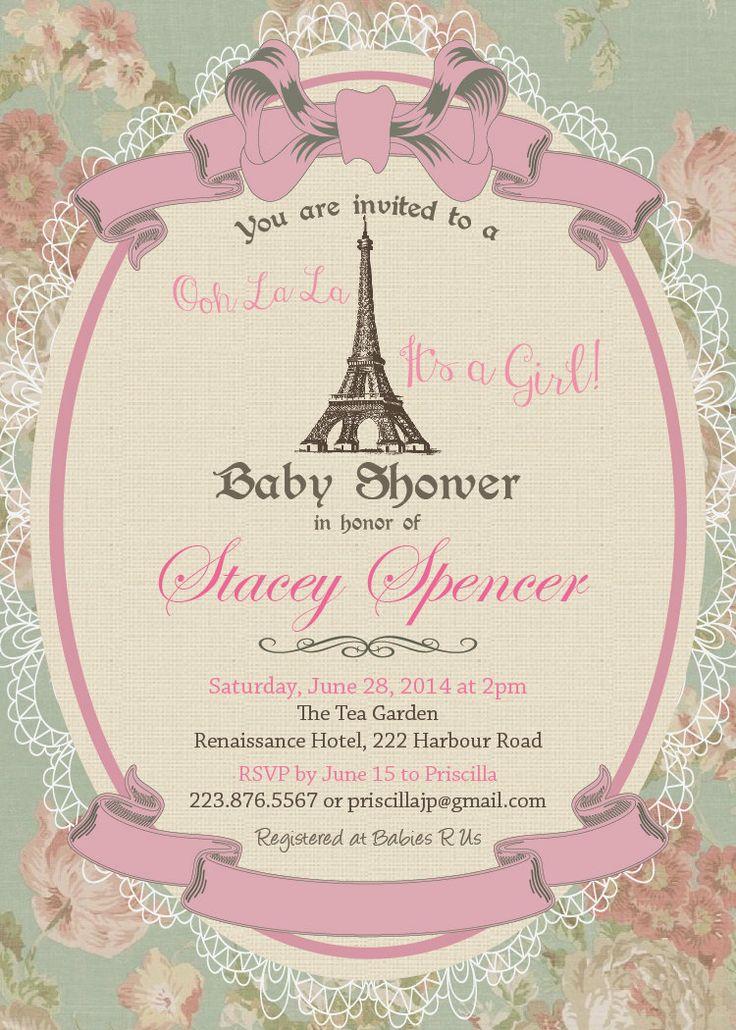 paris baby shower invitation vintage paris eiffel tower baby girl s
