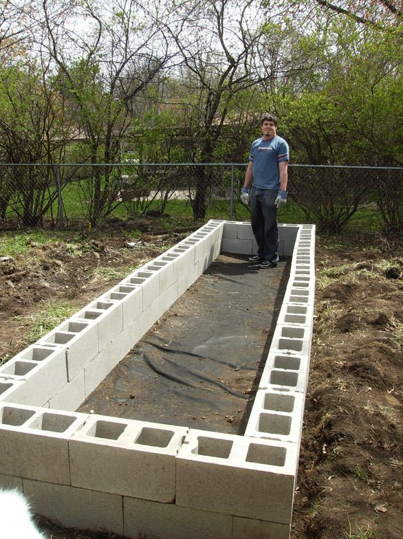 above ground garden fill cinder blocks with soil for stability cap