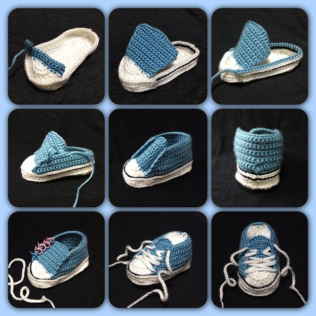 Free Ravelry Crochet Baby Converse pattern by Suzanne Resaul