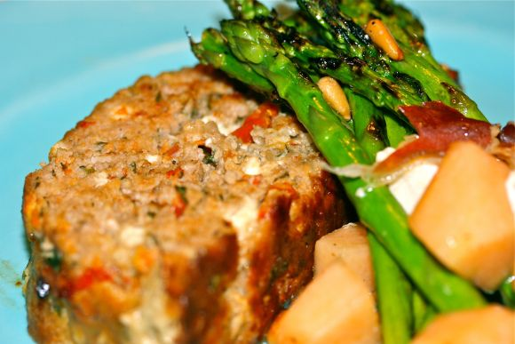 ... turkey meatloaf with feta & sun-dried tomatoes.... So delicious