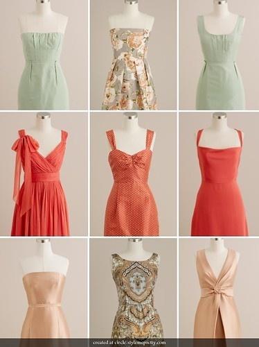 bridesmaids....mint,peach,pink