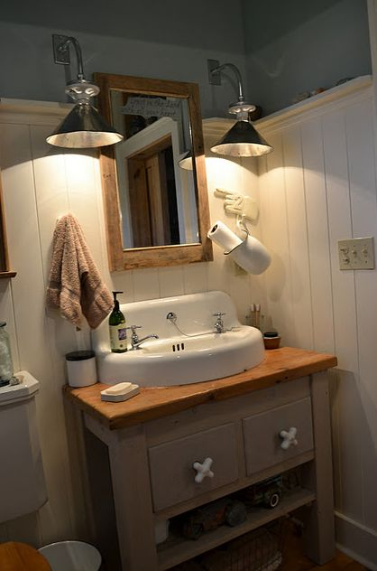 Primitive bathroom primitive home pinterest - Primitive bathroom vanity lights ...