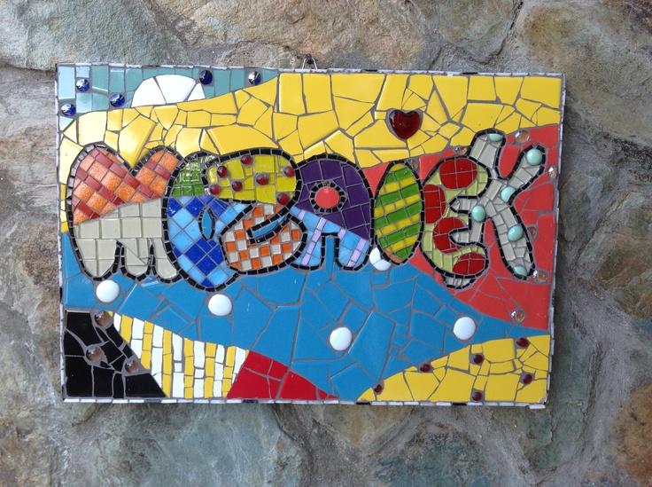 Mozaiek met tegel en glas  Knutsel stuf  Pinterest