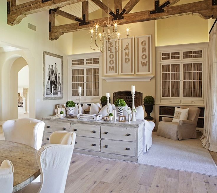 FOUND - Amazing living room with vaulted ceiling, rustic wood beams, built-in ...