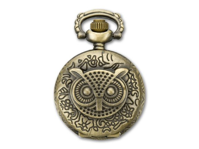 Antique Brass-Plated Vintage Style Watch Pendant with Hinged Owl Face Cover