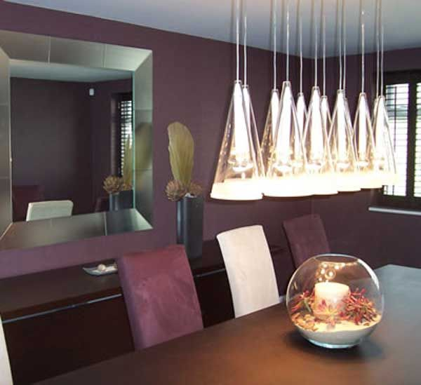 Suspension Lighting Has Twelve Shades Romantic Purple Dining Room