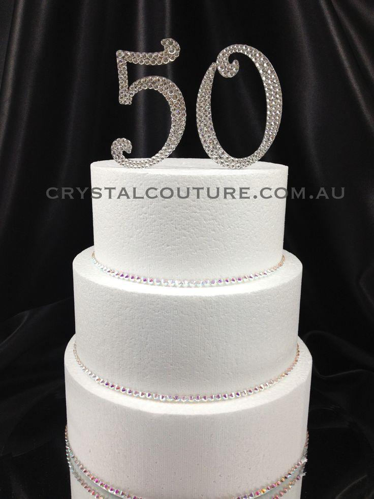 Swarovski embellished 50th Birthday Cake Topper #crystalcouture # ...