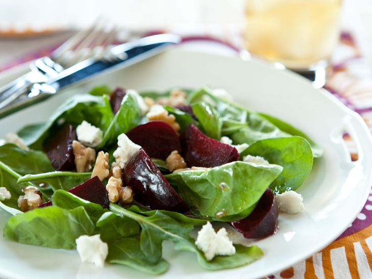 stunning salad. Dappled with goat's cheese and dark red roasted beets ...