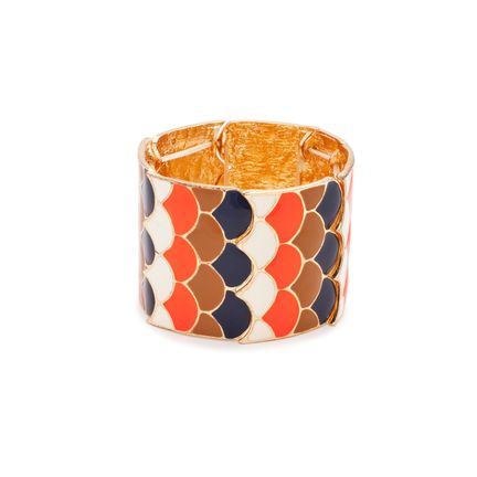 House of KL ARIEL BRACELET $28    We're loving the mod color palette of the Ariel stretch bracelet. Timeless and classy, Ariel combines navy, beige, ivory, and vibrant orange throughout its