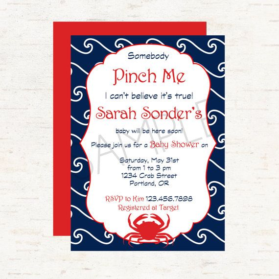 nautical crab theme baby shower invitation or evite waves background