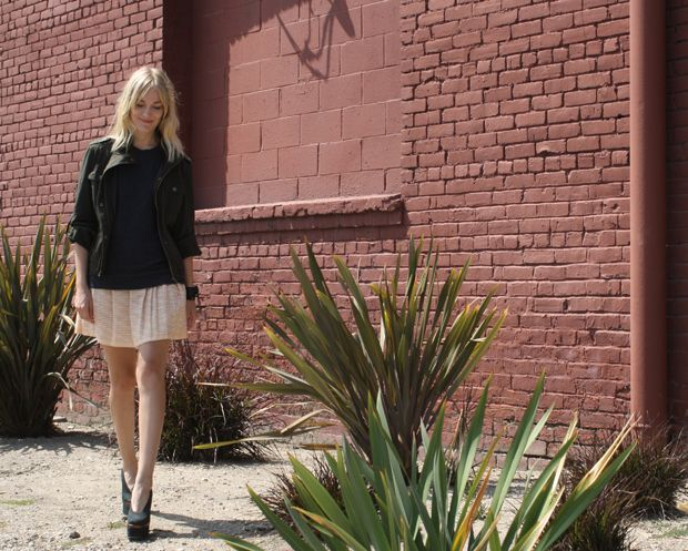 J.Crew skirt, Forever21 jacket, Cos top, Acne shoes and a watch from Skywatch.