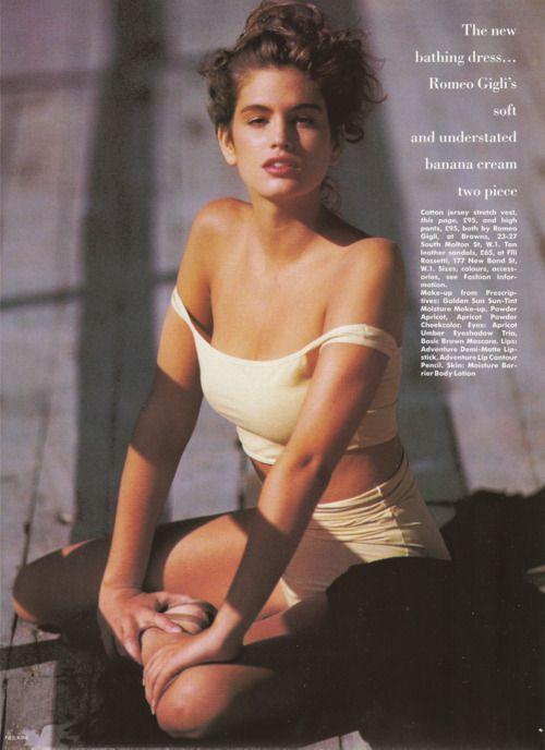 """Anatomy Of The New Bathing Dress"", circa late 80sPhotographer: Neil KirkModel: Cindy Crawford"