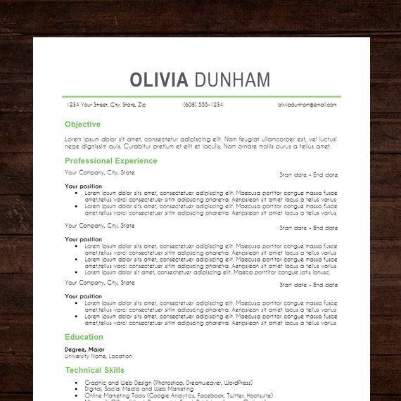 the olivia resume design instant download word doc docx format