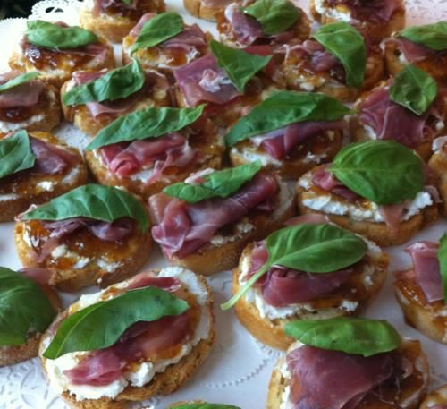 Goat cheese, fig jam, prosciutto, basil crostini for Mary's shower