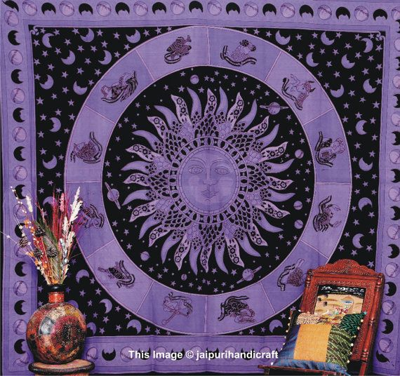 Sun Moon Stars Tapestry, Hippy Hippy Bedspread, Indian Tapestry ...