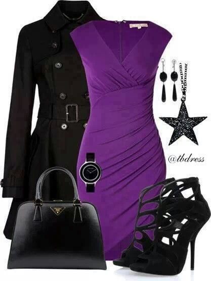 purple dress and black accessories clothes and shoes