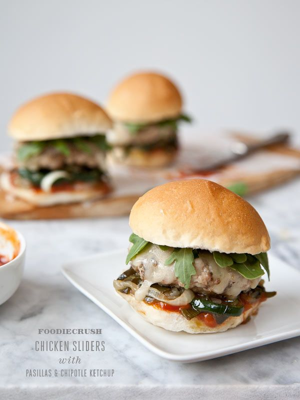 Chicken Sliders with Pasilla Peppers and Chipotle Ketchup #recipe is ...