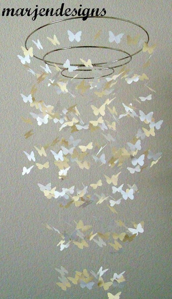 Baby Mobile Holz Schmetterling ~ butterfly mobile, crib mobile, baby girl mobile, baby boy mobile, baby