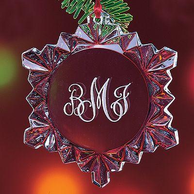 Monogram Crystal Snowflake Ornaments
