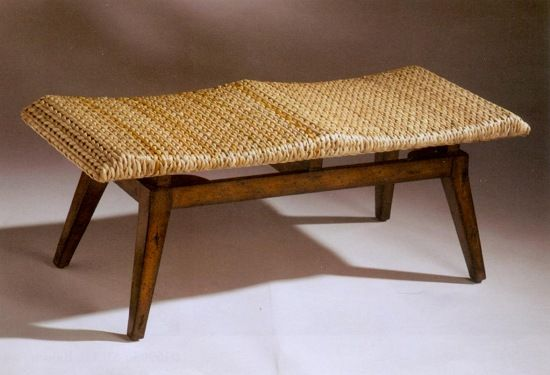 Seagrass chairs edge bench with woven seagrass from american