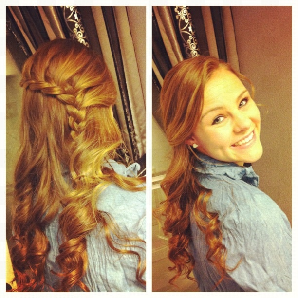 side braid and curls (:   HAIR