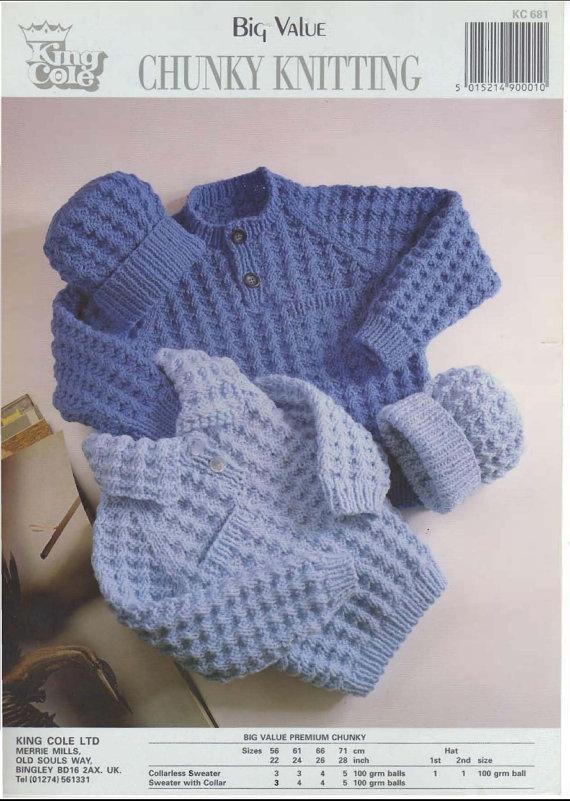 Download Knitting Patterns King Cole : Vintage PDF Childrens Knitting Pattern - King Cole 681 - sweater hat