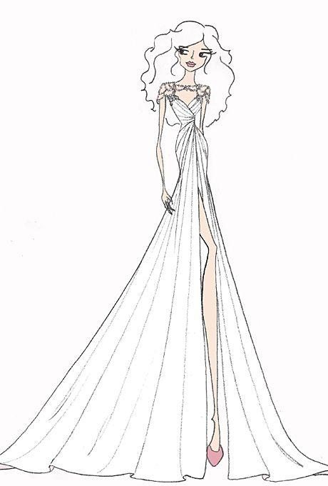 wedding dress sketch for savannah guthrie hayley paige